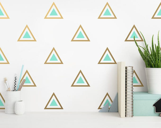 Triangle Wall Decals - 2 Color Triangle Decals, Nursery Decals, Triangle Decals, Geometric Decals, Modern Wall Decals, Gold Wall Decals