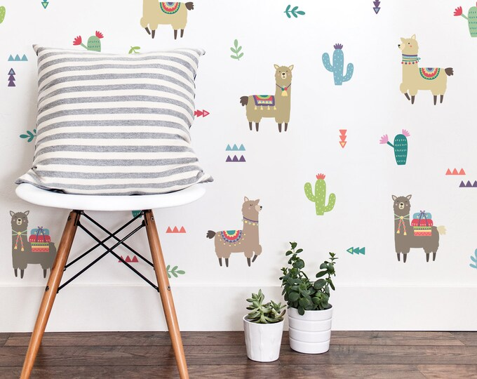 Alpaca Wall Decals - Llama Decals, Alpacas, Reusable Wall Decals, Nursery Decor, Wall Decor, Alpaca Decor, Alpaca Wall Art, Kids Room