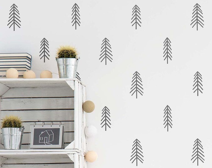 Tree Wall Decals - Nursery Decals, Pine Tree Decals, Woodland Nursery Decor, Forest Wall Decals