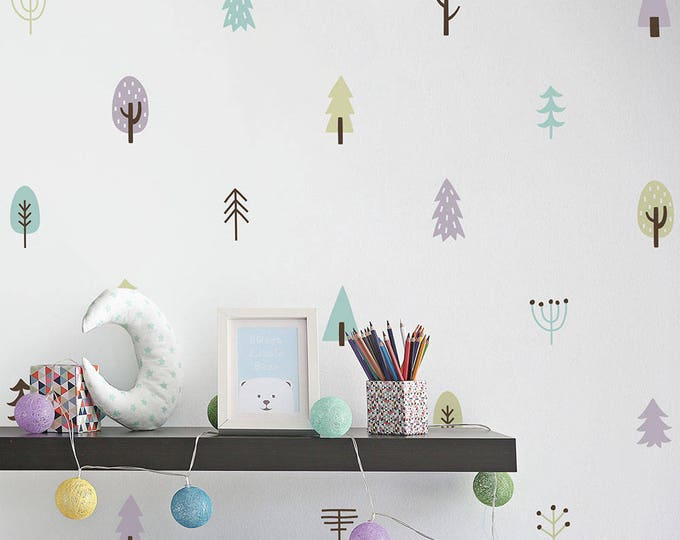 Tree Wall Decals - Woodland Nursery Decor, 4-Color Tree Wall Stickers, Vinyl Wall Decals, Kids Bedroom Decals, Wall Decor, Kids Room Decor