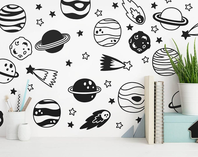 Space Wall Decals - Nursery Decals, Star Decals, Planet Wall Decals, Kids Room Wall Decor, Removable Wall Stickers