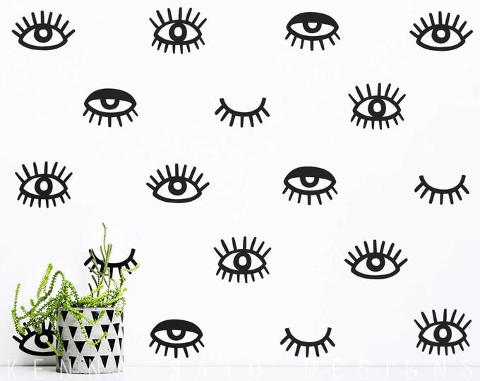 Eye Wall Decals - Eyelash Decals, Vinyl Wall Decals, Modern Wall Decals, Unique Wall Stickers