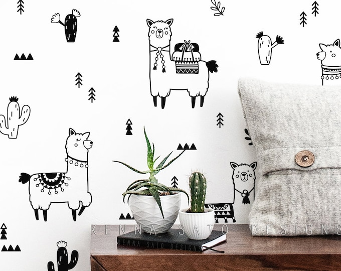 Alpaca and Cactus Decals - Llama Wall Decals, Nursery Decor, Kids Room Decor, Wall Sticker, Alpaca Decor, Llama Gift, Cactus Decor, Wall Art