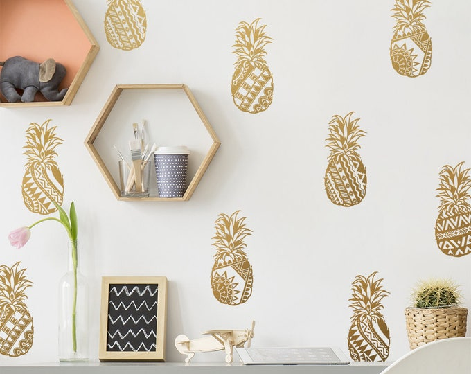 Tribal Patterned Pineapple Wall Decals - Pineapple Vinyl Wall Decals, Pineapple Decor, Gold Decals, Tribal Decals, Tropical Decals