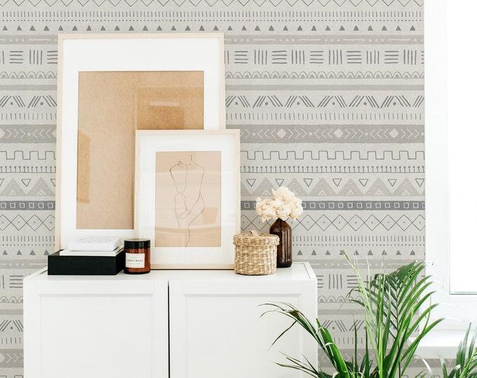 Boho Geometric Wallpaper - Peel and Stick Removable Wallpaper, Rustic Bedroom Wall Decor, Geometric Wall Art, Farmhouse Decor