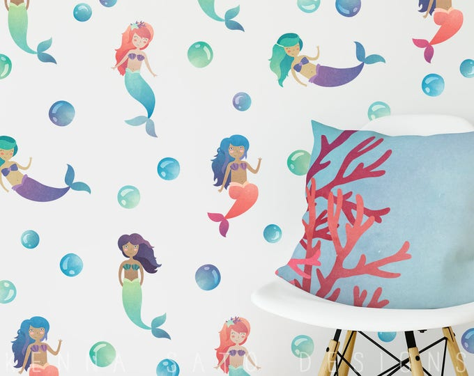 Wall Decals - Watercolor Mermaid and Bubble Decals - Reusable Wall Decals, Mermaid Decals, Bubble Decals, Mermaids, Kids Room, Wall Decor