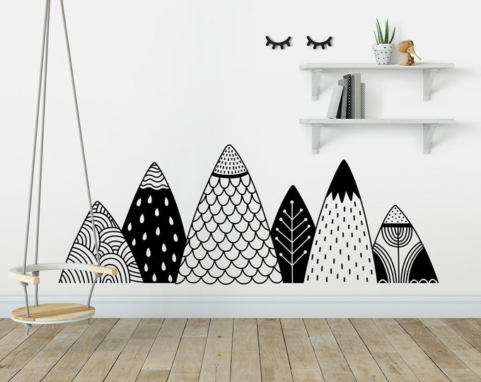 Patterned Mountains Wall Decal - Mountain Decal, Woodland Nursery, Tribal Wall Decals, Woodland Decal, Tribal Nursery Decal, Nature Nursery