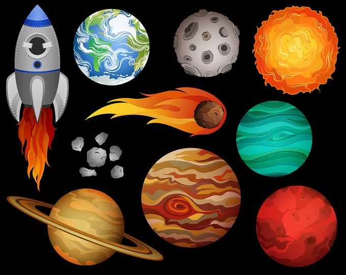 Outer Space Clip Art - Set of 10 X-Large 300 DPI Vector, PNG, and JPG Files - Hand Drawn Planets and Space Design Elements Clipart