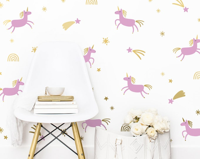 Unicorn Wall Decals - Unicorn Nursery Decor, Kids Room Wall Stickers, Unicorn Wall Art, Kids Bedroom Decor