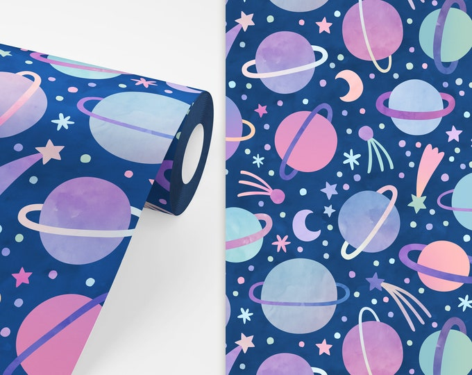 Watercolor Planets Wallpaper - Peel and Stick Removable Wallpaper, Space Wall Decor, Celestial Wall Art, Nursery Wallpaper, Kids Room Decor