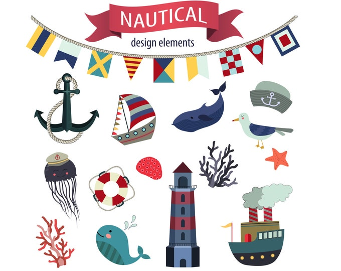 Nautical Clipart - Beach Clipart, Summer Clipart, Nautical Clip Art, Sea Life Clipart, Ocean Animals Clip Art, Digital Clipart Collection