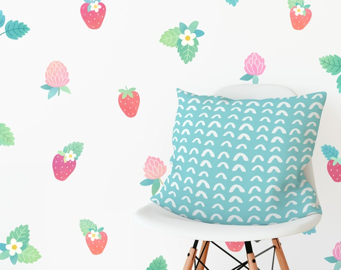 Floral Strawberry Wall Decals - Watercolor Wall Art, Reusable Wall Stickers, Nursery and Kids Room Decor, Neutral Nursery Art