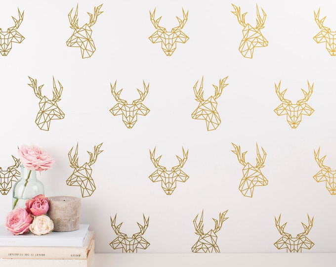 Geometric Deer Decals - 24 Unique Vinyl Wall Decals, Stag Decal, Gold Wall Decal, Geometric Decor, Dorm Decor, Bedroom Decals, Wall Stickers