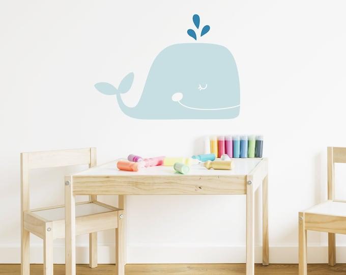 Whale Wall Decal - Nursery Decal, Vinyl Wall Decal, Beach Decal, Nautical Nursery Decor