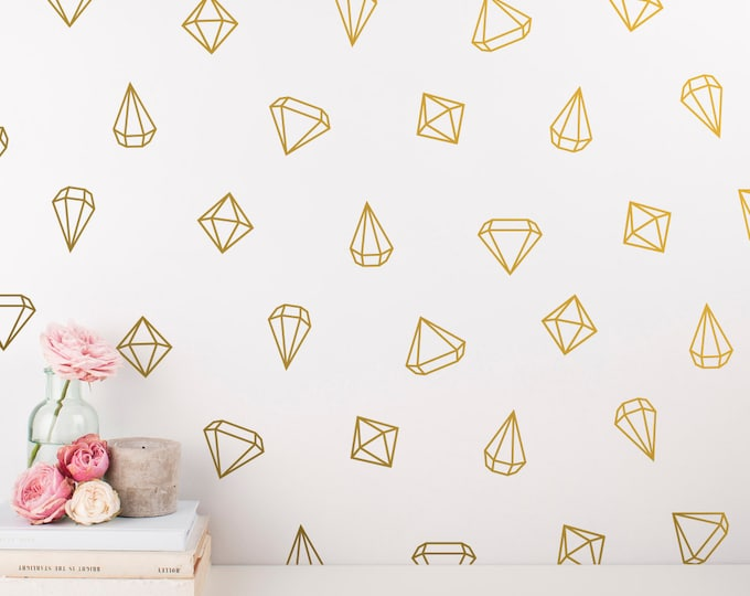 Geometric Wall Decals - 48 Prism Decals, Unique Vinyl Wall Decal Set, Gold Decals & Decor Great for Gifts and More!