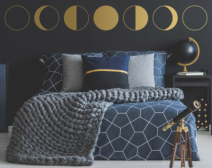 Moon Phases Wall Decal - Moon Phases, Moon Decor, Wall Decor, Decals, Minimalist Decor, Gift for Her, Astronomy Gift, Moon Gift, Vinyl Decal