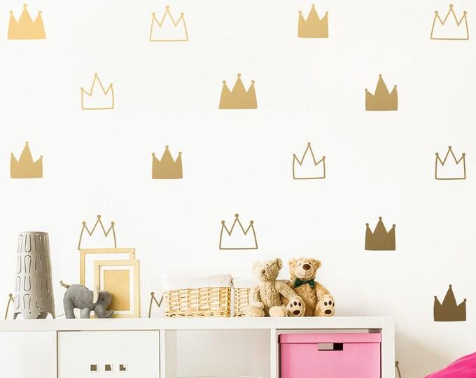 Crown Wall Decals - Kids Room Decals, Nursery Wall Decals, Gold Wall Stickers, Removable Wall Decals, Vinyl Decals