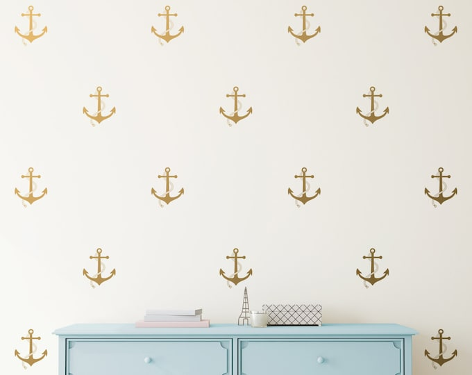 Anchor Wall Decals - Vinyl Wall Decals, Nautical Decals, Nursery Decals, Gold Decals, Silver Decals, Metallic Wall Decor, Unique Gift Idea