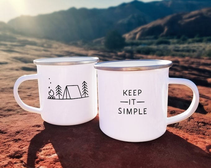 Keep it Simple Mug - Camp Mug, Enamel Mug, Mug Gift, Adventure Gift, Wanderlust, Explorer, Adventure Quote, Camping Gift, Travel Mug