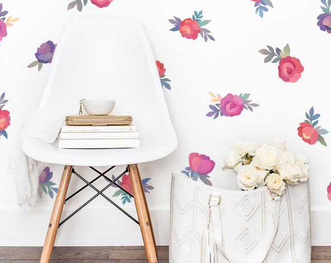 Watercolor Flower Wall Decals - Watercolor Floral Decals, Reusable Decals, Nursery Decor, Wall Decor, Kids Room Decor, Watercolor Wall Art