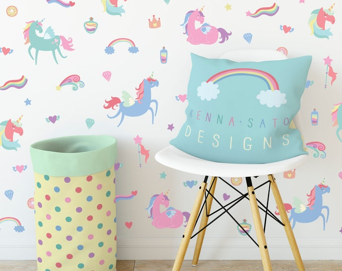 Unicorn Wall Decals - Wall Decor, Gift for Her, Unicorn Decor, Nursery Decor, Gift for Daughter, Unicorn, Reusable Wall Decals, Unicorn Art