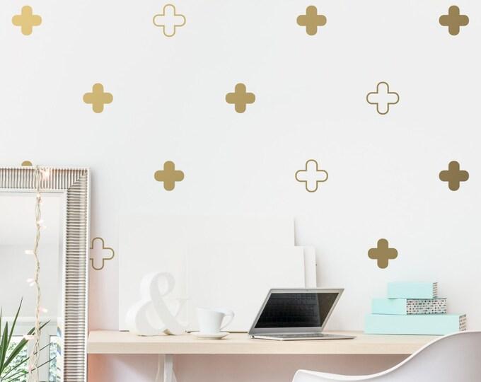 Geometric Wall Decals - Plus Sign Decals, Vinyl Wall Decals, Unique Wall Decor, Gold Decals, Silver Decals, Unique Gift Idea