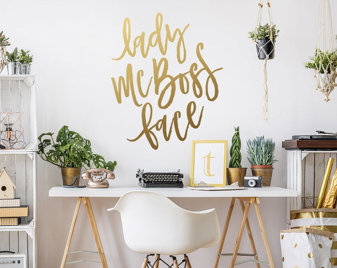 Lady McBoss Face Decal - Boss Quote Decal, Women's Office Decal, Motivational Quote Decal, Lady Manager, Boss Lady Gift, Calligraphy Quote
