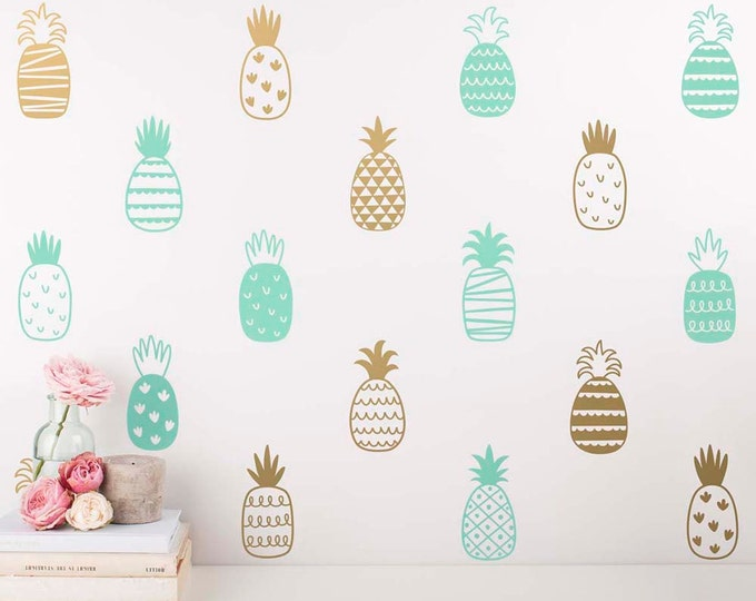 Pineapple Wall Decals - Multicolored Decals, Unique Gold Decor, Pineapple Decal, Wall Stickers, Modern Wall Decals