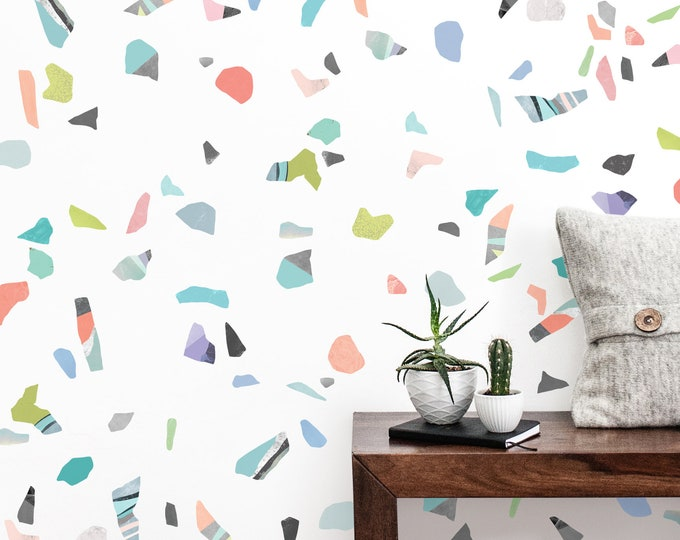 Terrazzo Wall Decals - Reusable Decals, Nursery Decor, Terrazzo Pattern Wall Art, Wall Stickers, Abstract Wall Decor