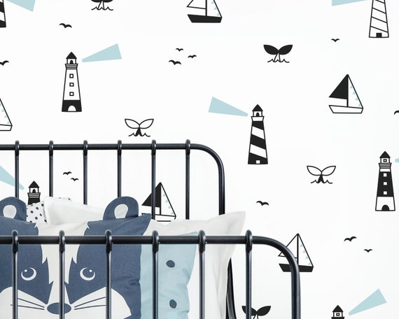 Lighthouse Wall Decals - Ocean Decals, Beach Decor, Nautical Decor, Nursery Decor, Wall Stickers, Kids Room Decor, Wall Art, Gift for Home
