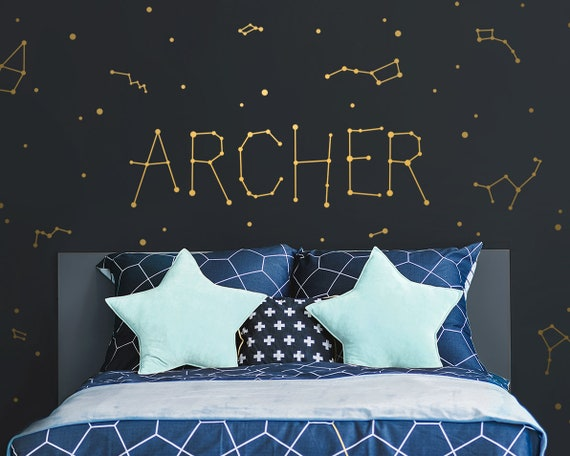 Custom Name Vinyl Decal - Personalized Name Vinyl Decal, Constellation Name, Space Constellation, Custom Nursery Decal, Constellations Decal