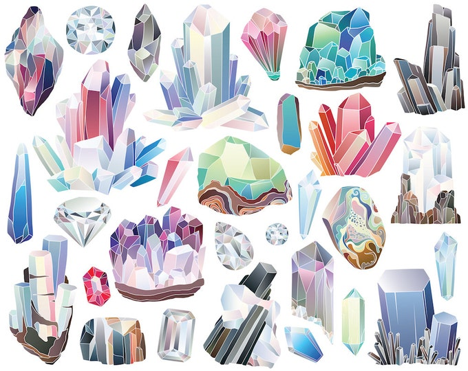 Crystals, Diamonds, and Minerals Clipart - 29 300 DPI Vector & PNG Files - Gems, Stones, Rocks, Crystal Clusters, Nature Clip Art Set