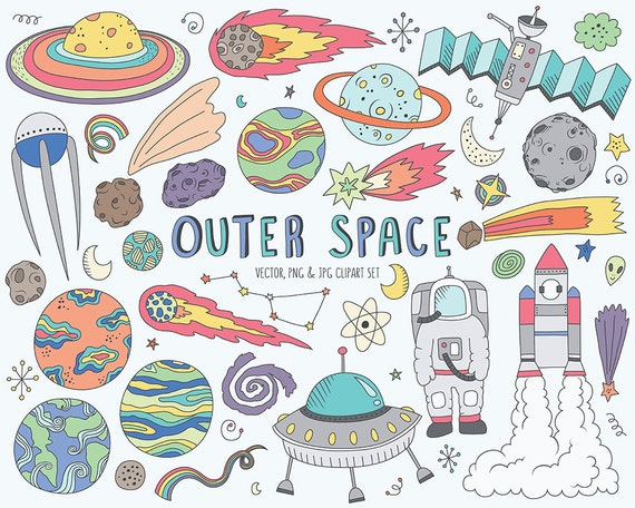 Space Clipart - Cute Space Doodles Clip Art Set - Vector, PNG & JPG Files, Hand Drawn Clipart, Space Illustration, Outer Space Printable
