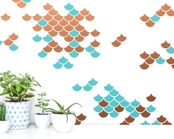 Mermaid Scale Wall Decals - 2-Color Wall Decals, Nursery Decor, Geometric Decals, Modern Wall Decals, Wall Decor, Gifts for Her
