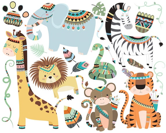 Jungle Tribal Animals Clipart - Set of 19 300 DPI Vector, PNG & JPG Files - Cute Unique, Hand Drawn Original Clip Art Illustrations