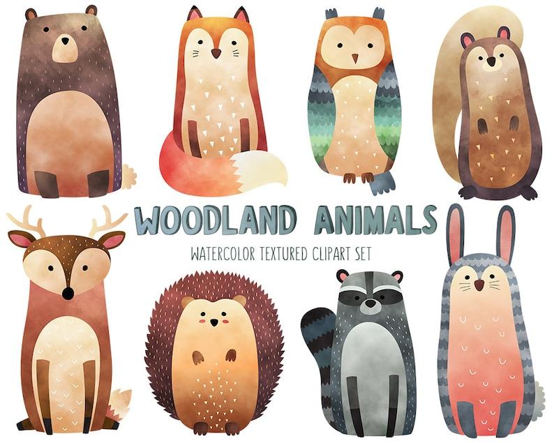 Watercolor Woodland Animals Clipart  Cute Animal Clip Art Set image 0
