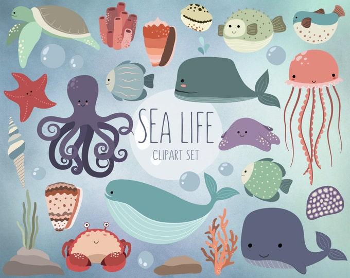Sea Life Clipart - 25 Cute Ocean Animals Clip Art Set - Quality Vector, PNG & JPG 300 DPI Summer Clipart, Adorable Beach Art
