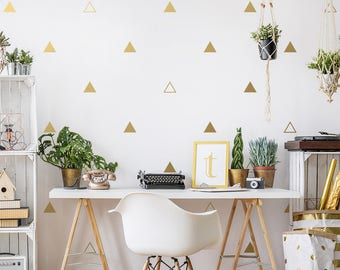 Triangle Wall Decals - Geometric Wall Decal Set, Vinyl Wall Decals, Gold Decals, Wall Decor, Scandinavian Decor, Unique Geometric Wall Art