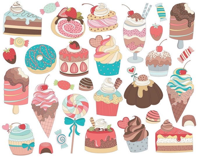 Treats, Sweets, & Candy Clip Art - Set of 31 300 DPI PNG and Vector Files - Cute Dessert and Food Clipart, Hand Drawn Doodles