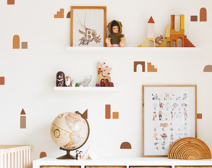 Minimal Color Block Wall Decals - Removable Wall Stickers, Boho Wall Decor, Kids Room Wall Art, Nursery Decor