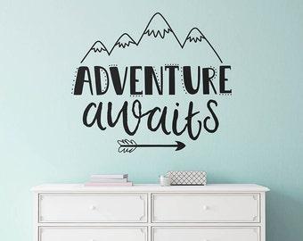 Adventure Awaits Wall Decal - Nursery Decal, Wall Quote, Modern Decal, Cute Wall Decor, Inspirational Quote, Adventure, Adventure Wall Art