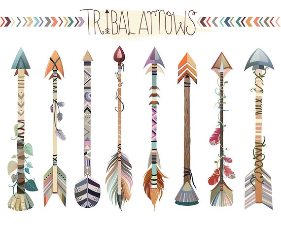 Tribal Arrows Clipart - Set of Vector, PNG & JPG Files - Hand Drawn, Unique, Cute and Trendy Clip Art Download