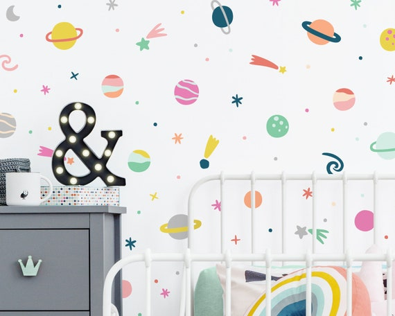 Outer Space Wall Decals - Reusable Wall Decals, Nursery Decor, Kids Room, Star Decals, Planets & Solar System Decor