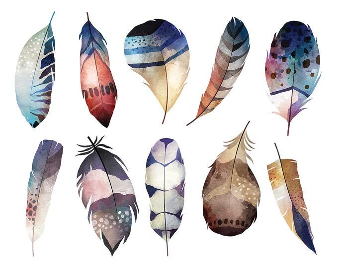 Watercolor Boho Feathers Clipart - Set of 10 High Quality PNG & Vector Files - Unique Tribal Clip Art, Boho Design Elements Set