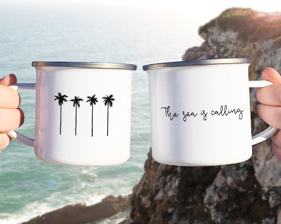 The Sea is Calling Mug - Camp Mug, Beach Life, Mug Gift, Adventure Gift, Wanderlust, Explorer, Adventure Quote, Beach Lover Gift, Travel Mug