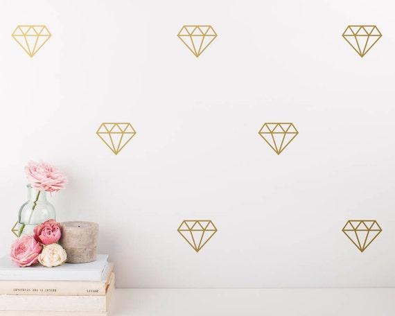 Diamond Wall Decals - Geometric Vinyl Decals, Modern Decals, Diamond Wall Stickers, Gold Decor, Wall Art, Geometric Decor