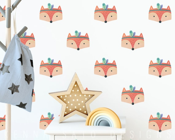 Watercolor Tribal Fox Wall Decals - Reusable Decals, Wall Decor, Kids Room, Fox Decal, Fox Decor, Watercolor Wall Art, Woodland Decor