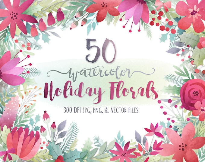 Christmas Clipart - Watercolor Christmas Floral Clipart, Watercolor Clip Art, Digital Christmas Clip Art, Holiday Printables, DIY Cards