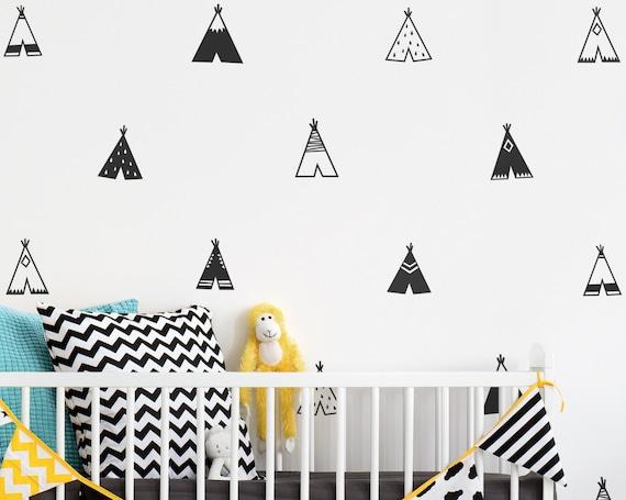 Teepee Wall Decals - Nursery Decals, Vinyl Wall Decals, Tribal Decals, Wall Stickers, Tribal Nursery Decor, Wall Decor, Bedroom Decals