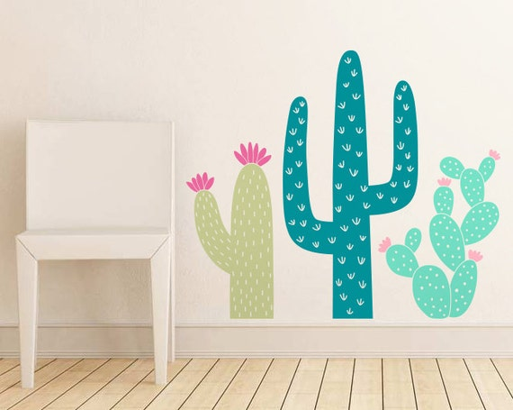 Cactus Wall Decals - Nursery Decal, Cacti Decals, Kids Room Decal, Succulent Decor, Unique Wall Decor